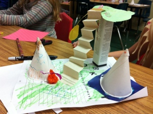 Teepee villages out of paper drinking cups